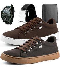 kit 2 pares de sapatênis touro boots masculino marrom claro e marrom escuro + relógio + cinto e carteira