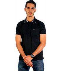 camiseta polo hamer, basica con bolsillo, para hombre color negro