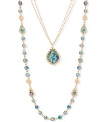 "lonna & lilly gold-tone crystal & stone beaded 24"" convertible layered necklace"