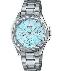 reloj analógico mujer casio ltp-2088d2a2 cronógrafo - plateado con azul