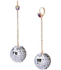 betsey johnson sequin ball linear earrings