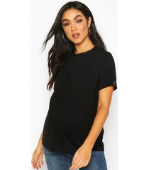 maternity button turn up cuff boxy cotton t-shirt, black