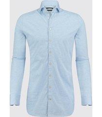 blue industry heren overhemd oscar jersey semi spread boord blauw
