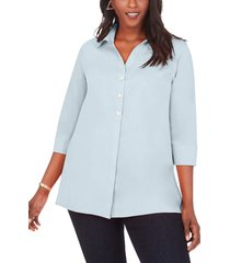 plus size women's foxcroft pamela non-iron stretch tunic blouse, size 22w - blue