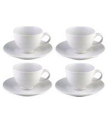 conjunto com 4 xícaras bon gourmet em cerâmica para chá com pires branco