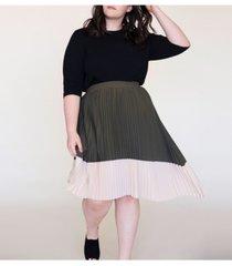 ori women's plus size asymmetric pleated midi skirt
