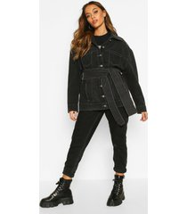 contrast stitch belted jean jacket, black