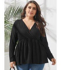 abrigo con cuello en v talla grande diseño blusa de manga larga