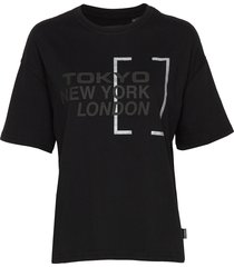 brand language city box fit tee t-shirts & tops short-sleeved svart superdry