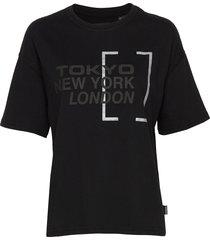 brand language city box fit tee t-shirts & tops short-sleeved svart superdry