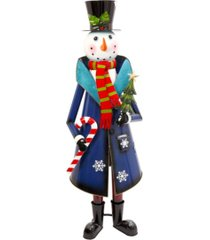 sterling metal snowman figure with blue coat and black top hat