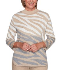 alfred dunner petite glacier lake animal-print jacquard sweater