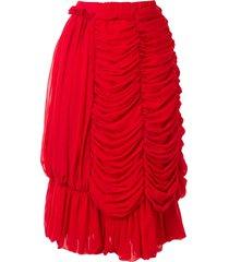comme des garçons draped design skirt - red