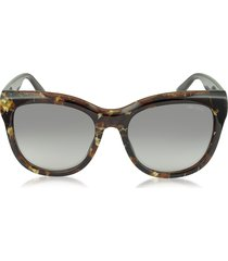 jimmy choo designer sunglasses, nuria/s w036p dark brown acetate cat eye sunglasse
