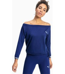 puma x pamela reif off-shoulder sweater, blauw/aucun, maat xs