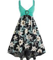 plus size flower print ring backless a line dress