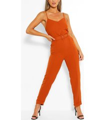 cami strap belted turn up hem jumpsuit, burnt orange