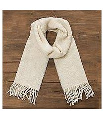 100% alpaca scarf, 'andean delight in bone' (peru)