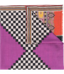 etro geometric-print scarf - purple