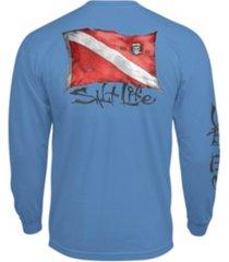 salt life mens weathered dive flag long sleeve pocket tee