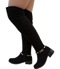 botas en microfibra extralargas para mujer outfit gold negro