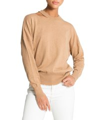 women's n:philanthropy alloy deconstructed sweater, size x-large - beige