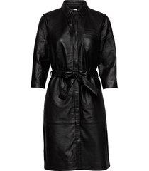 raymon leather dress knälång klänning svart minus