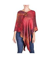 rayon poncho, 'beautiful flame' (guatemala)
