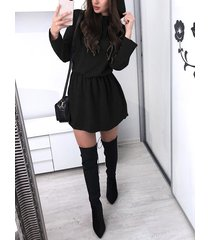 cintura elástica con capucha manga larga vestido