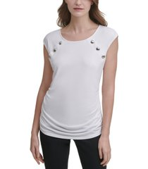 calvin klein ruched mixed-media top