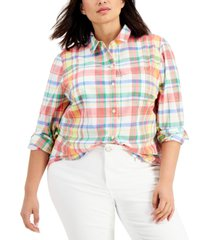 style & co petite cotton plaid shirt, created for macy's
