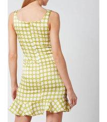 de la vali women's christobel dress - green polka dot - uk 12