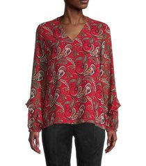 calvin klein women's boteh-print top - red multi - size xs