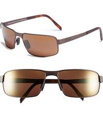 men's maui jim 'castaway - polarizedplus2' 63mm polarized sunglasses - matte chocolate/ hcl bronze