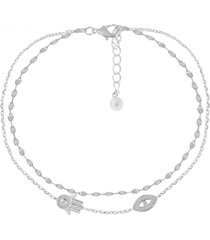 double row cubic zirconia hamsa hand and evil eye anklet in fine silver plate