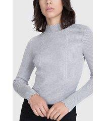 sweater io tipo beatle gris - calce ajustado