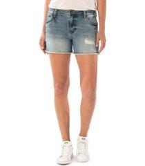 kut from the kloth gidget high waist frayed denim cutoff shorts, size 10 in traveler at nordstrom