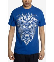 men's geo embellished lion head graphic t-shirt