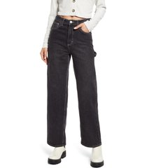 bp. contrast stitch wide leg carpenter jeans, size 24 in faded black wash at nordstrom
