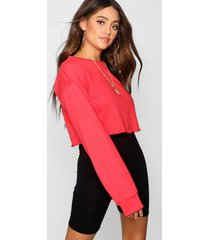 korte oversized sweater, rood
