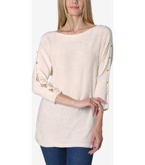 boat neck dolman split sleeve button trim sweater