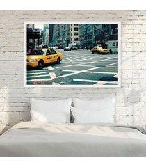 quadro love decor com moldura new york city branco  grande - tricae
