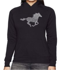 la pop art women's word art hooded sweatshirt -horse breeds