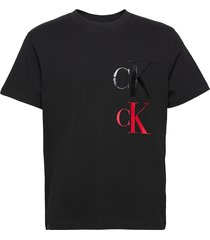 ck eco fashion ss tee t-shirts short-sleeved svart calvin klein jeans