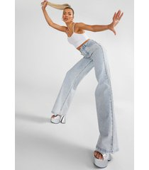 acid wash gebleekte high rise dad jeans, ice blue