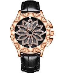 il fiore di cuoio dei diamanti dei diamanti di lusso guarda gli orologi squisiti impermeabili variopinti per le donne