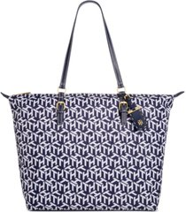 tommy hilfiger julia printed nylon zippered tote, created for macy's