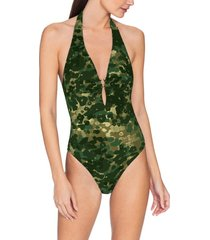 women's robin piccone eden one-piece halter camo swimsuit, size 14 - green