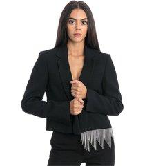 crop jacket with swarovsky fringes