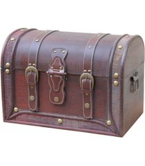 vintiquewise antique style wood and leather trunk with round top